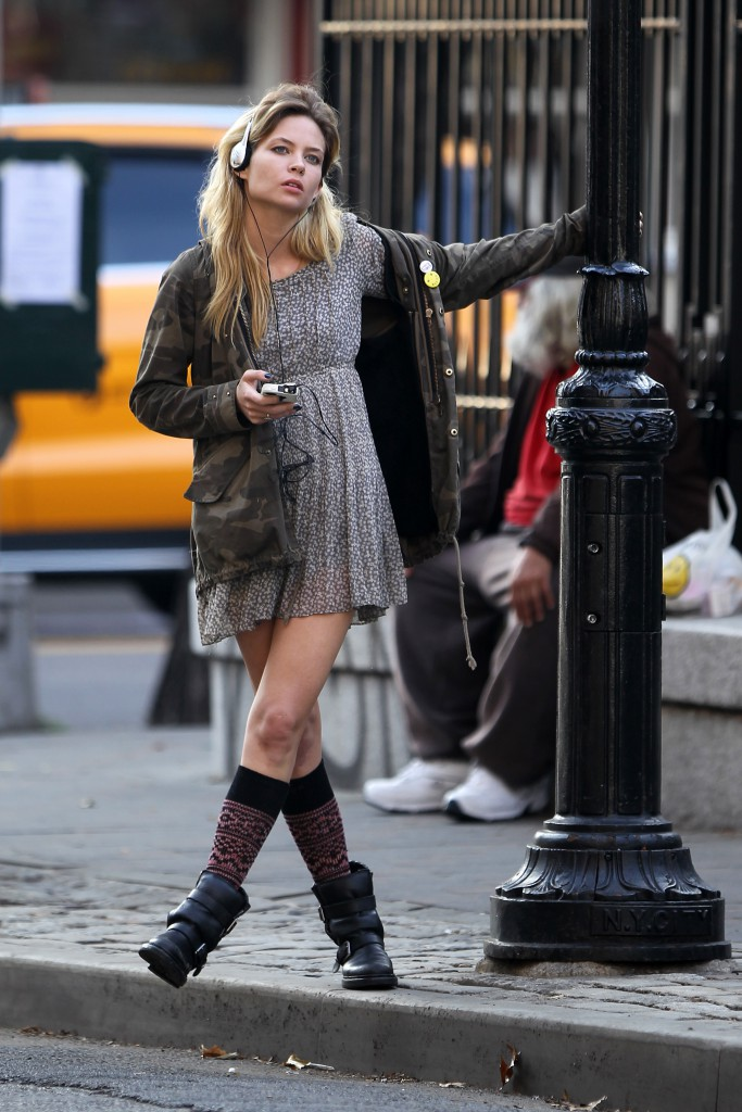 Actress Daveigh Chase films a scene for an indie movie called 'Transference 2' directed by Jacob M. Brown in Soho in New York City