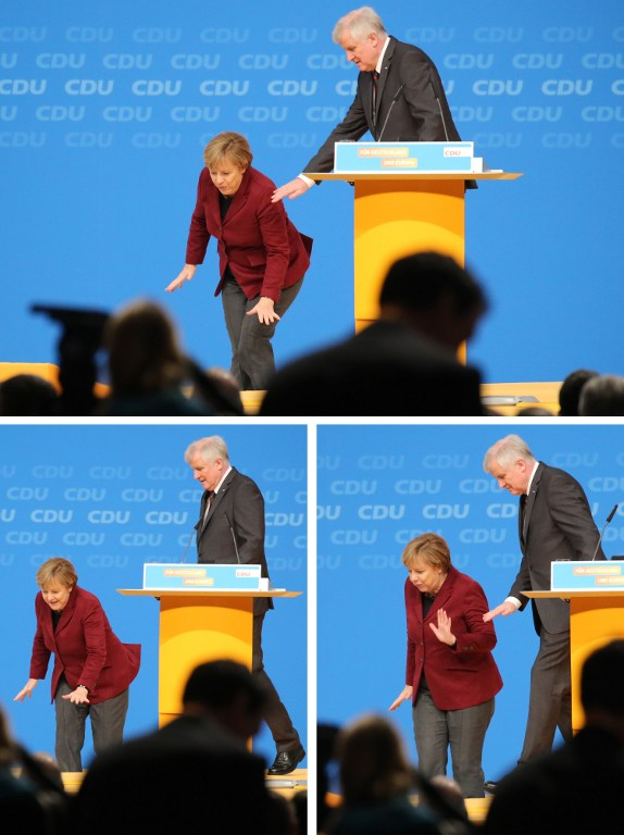 Combo shows German Chancellor and Christian Democratic Union (CDU) leader Angela Merkel stumbling on the stage as Bavarian State Premier and Christian Social Union (CSU) leader Horst Seehofer looks on during the Christian Democratic Union's (CDU) party in Karlsruhe, southern Germany, on December 15, 2015. Merkel turned in a decisive performance at the Christian Democrats' gathering, uniting delegates behind a centrist line of humanitarian commitment coupled with a promise to reduce refugee numbers. / AFP / DPA / Michael Kappeler / Germany OUT