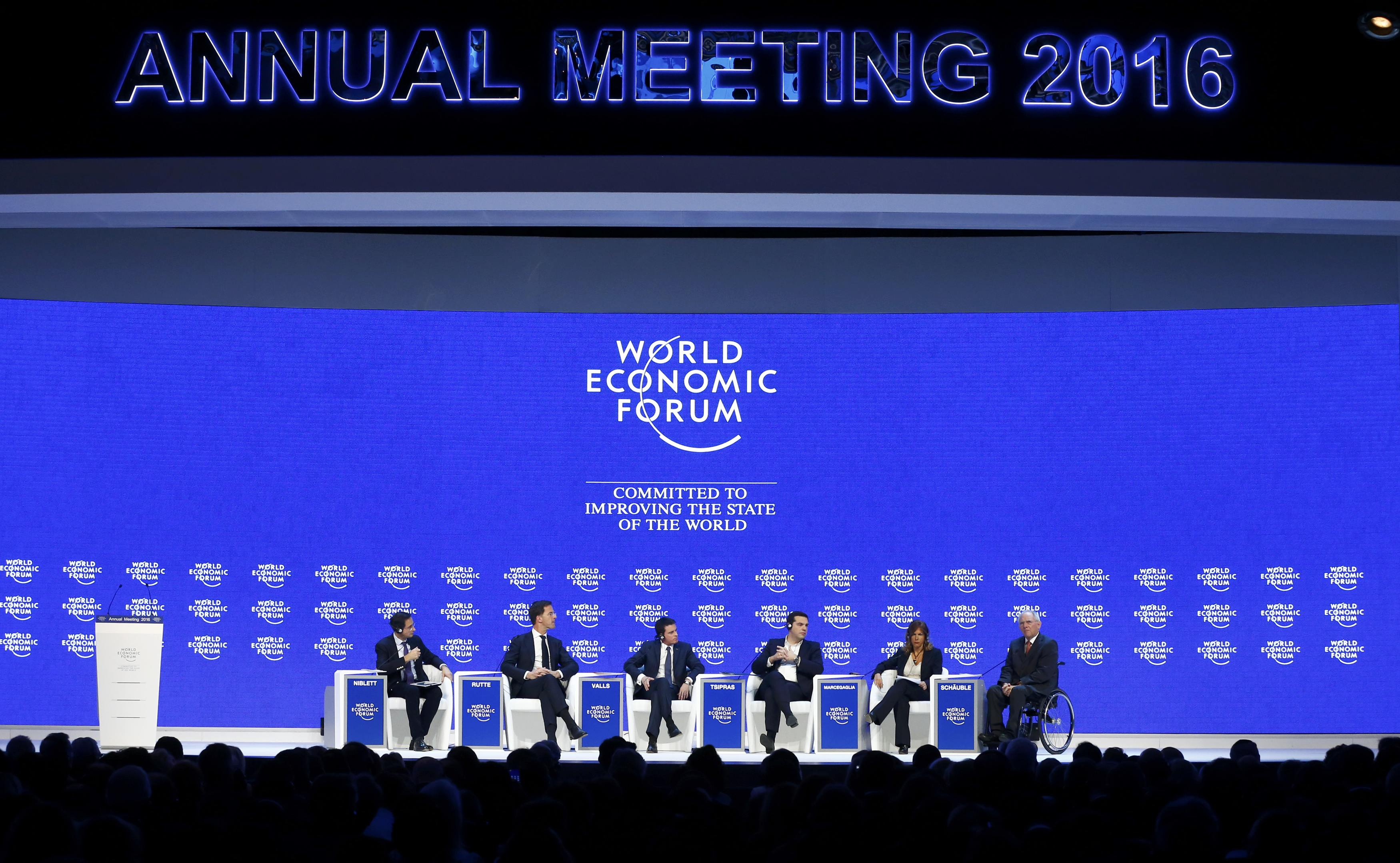 Participants attend the session 'The Future of Europe' at the annual meeting of the World Economic Forum (WEF) in Davos, Switzerland January 21, 2016. Pictured are (L-R) Robin Niblett, Director, Chatham House, Netherlands Prime Minister Mark Rutte, French Prime Minister Manuel Valls, Greek Prime Minister Alexis Tsipras, Emma Marcegaglia, Chairman, Eni, and German Finance Minister Wolfgang Schaeuble. REUTERS/Ruben Sprich