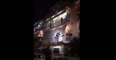 Τρελό γλέντι σε πολυκατοικία (video)